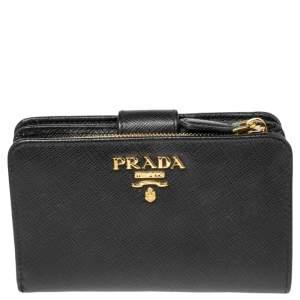 Prada Black Leather Zip Around Wallet