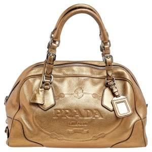 Prada Metallic Gold Leather Logo Satchel
