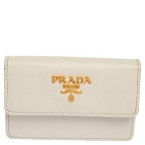 Prada White Saffiano Metal Leather Card Case