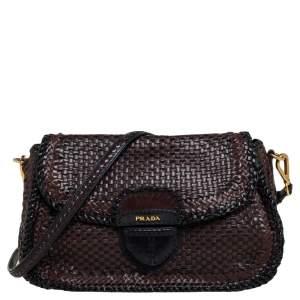 Prada Dark Brown/Black Woven Madras Leather Pushlock Flap Shoulder Bag