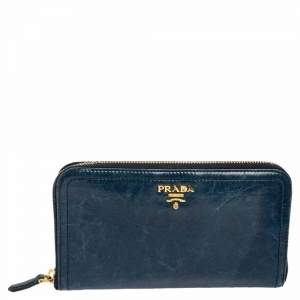 Prada Teal Blue Crinkled Leather Zip Around Continental Wallet