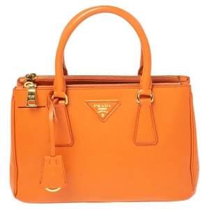 Prada Orange Saffiano Lux Leather Small Galleria Double Zip Tote