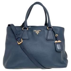 Prada Navy Blue Vitello Daino Leather Middle Zip Tote