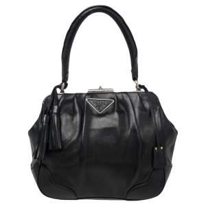 Prada Black Leather Top Handle Bag