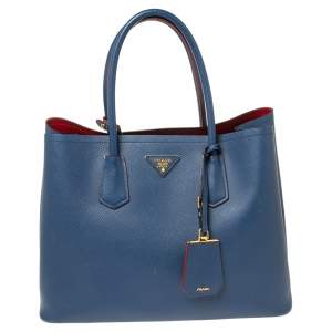 Prada Navy Blue Saffiano Cuir Leather Large Double Handle Tote