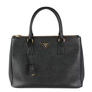 Prada Black Saffiano Lux Leather Large Galleria Tote Bag