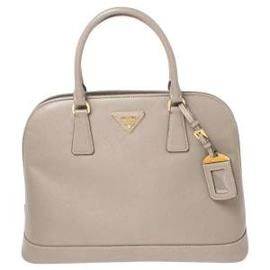 Prada Grey Saffiano Lux Leather Dome Satchel