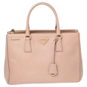 Prada Dusty Pink Saffiano Lux Leather Medium Double Zip Tote