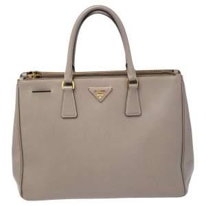 Prada Argilla Grey Saffiano Lux Leather Large Galleria Tote