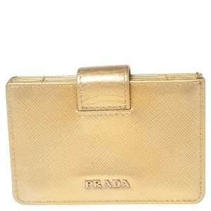 Prada Metallic Gold Saffiano Lux Leather Gusset Card Holder