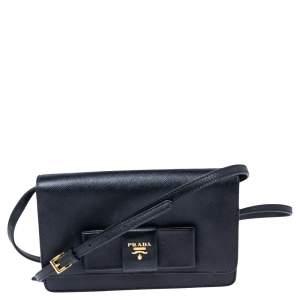 Prada Black Saffiano Lux Leather Bow Wallet On Strap
