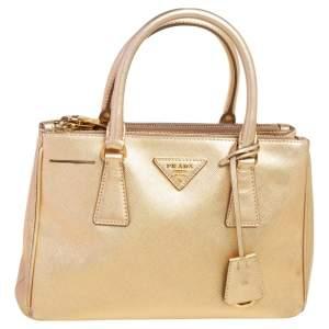 Prada Metallic Gold Saffiano Lux Leather Small Galleria Double Zip Tote
