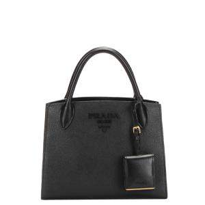 Prada Black Leather Monochrome Tote Bag