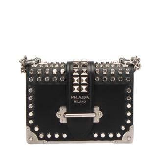 Prada Black Saffiano Leather City Studded Cahier Bag