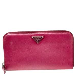 Prada Metallic Pink Saffiano Lux Leather Zip Around Continental Wallet
