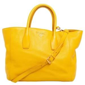 Prada Yellow Vitello Daino Leather Tote