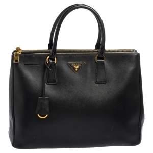 Prada Black Saffiano Lux Leather Large Galleria Double Zip Tote