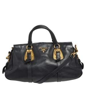 Prada Black Soft Calf Leather Satchel