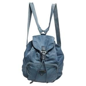 Prada Blue Tessuto Nylon Drawstring Backpack