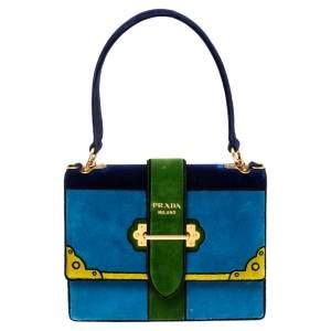 Prada Tri Color Velvet Cahier Top Handle Bag