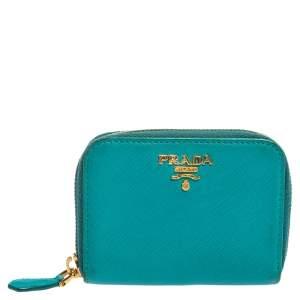 Prada Turquoise Saffiano Leather Small Zip Around Wallet