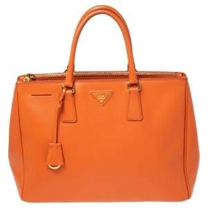 حقيبة يد توتس برادا جلد سافيانو لوكس برتقالي كبيرة بسحاب مزدوج