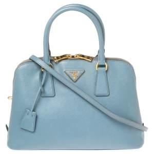Prada Blue Saffiano Lux Leather Medium Promenade Satchel