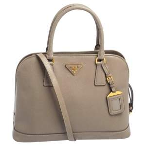 Prada Grey Saffiano Lux Leather Open Promenade Satchel