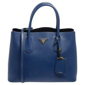 Prada Blue Saffiano Cuir Leather Medium Double Handle Tote