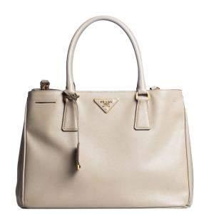 Prada Beige Saffiano Leather Lux Galleria Tote Bag