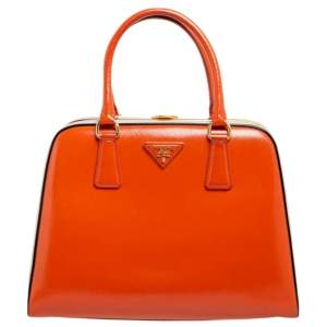 Prada Orange/White Saffiano Vernice Leather Pyramid Frame Satchel