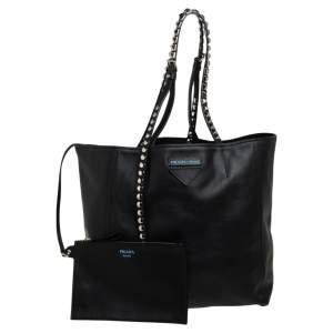 Prada Black Leather Etiquette Concept Tote