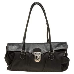 Prada Black Leather And Nylon Easy Shoulder Bag