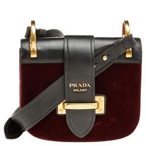 Prada  Burgundy/Black Velvet & Leather Pionniere Crossbody Bag