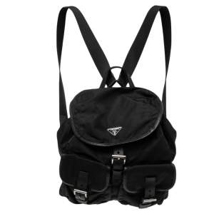 Prada Black Tessuto Nylon Small Drawstring Backpack