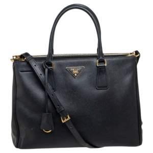 حقيبة يد توتس برادا غاليريا سحاب مزدوج جلد فاخر سافيانو أسود