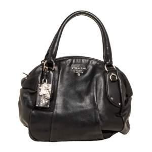 Prada Black Vitello Daino Leather Zip Hobo