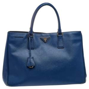 Prada Blue Saffiano Leather Tote