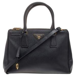Prada Black Saffiano Lux Leather Small Galleria Double Zip Tote
