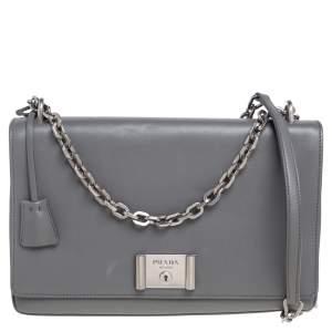 Prada Grey Leather Flap Chain Shoulder Bag