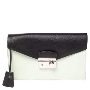 Prada Mint Green/Black Saffiano Lux Leather Flap Clutch