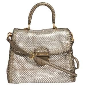 Prada Two Tone Metallic Woven Madras Leather Flap Top Handle Bag