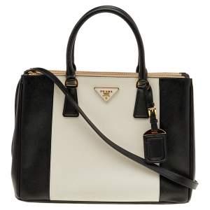Prada Black/White Saffiano Lux Leather Medium Double Zip Tote