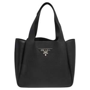 Prada Black Vitello Daino Leather Dynamique Tote