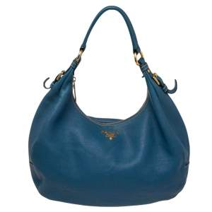 Prada Blue Leather Daino Top Zip Hobo