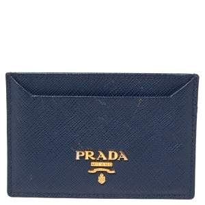 Prada Blue Saffiano Lux Leather Card Holder