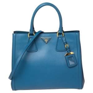 Prada Two Tone Blue Saffiano Leather Double Handle Tote