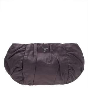 Prada Dark Brown Pleated Leather Pochette