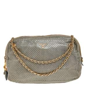Prada Grey Perforated Leather Top Zip Chain Shoulder Bag