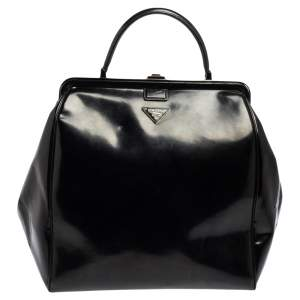 Prada Black Glossy Leather Spazzolato Frame Doctor Top Handle Bag